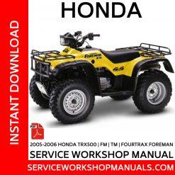 2005-2006 Honda TRX500   FM   TM   Fourtrax Foreman Service Workshop Manual