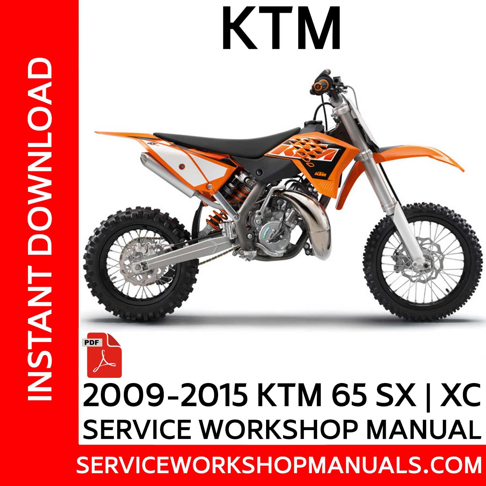2009-2015 ktm 65 sx | xc service workshop manual - service workshop manuals  service workshop manuals