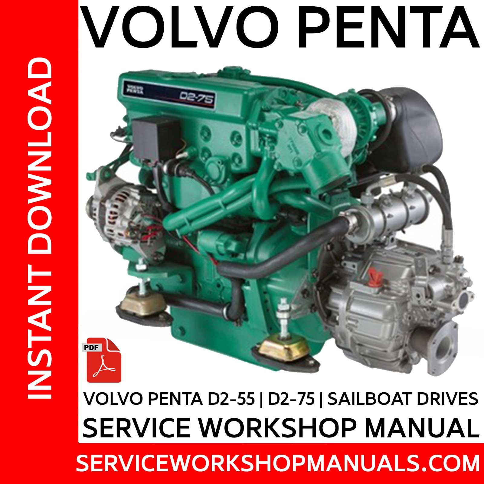 Volvo Penta D2-55 | D2-75 and Sailboat Drives Service Workshop Manual -  Service Workshop Manuals | Volvo Penta D2 55 Wiring Diagram |  | Service Workshop Manuals